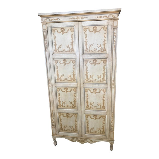 Vintage Baker Furniture Co. Painted Wardrobe Armoire For Sale