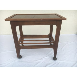 Small Mid-Century Modern Wooden Rolling Tray Table Cart Preview