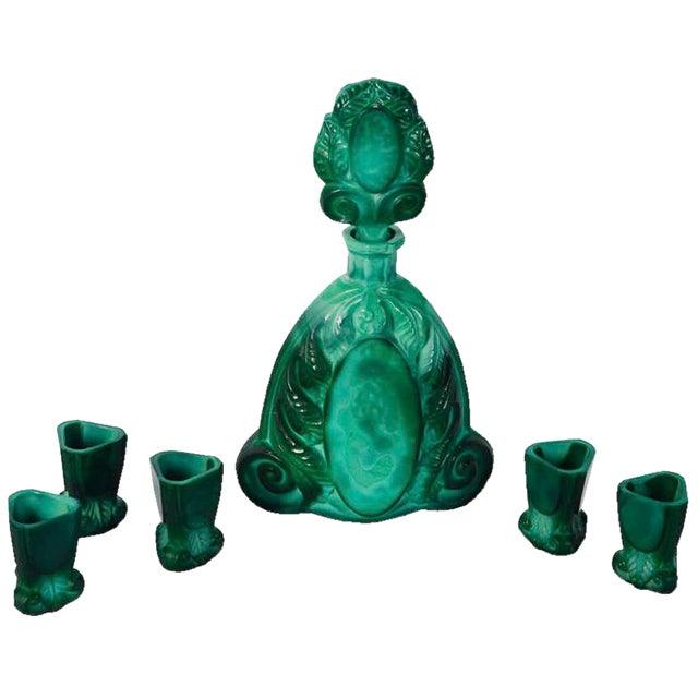 Art Deco Boho Malachite Glass Decanter Set of 6 - Image 1 of 9