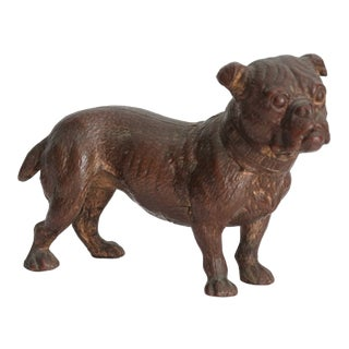 1960s Vintage Solid Bronze English Bulldog Sculpture For Sale