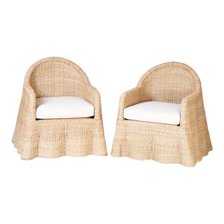 Wicker Drapery Ghost Arm Chairs - a Pair For Sale