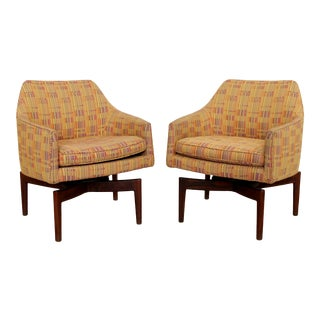 Mid Century Modern Jens Risom Walnut Swivel Armchairs Knoll - a Pair For Sale