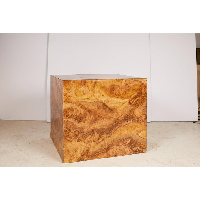 Midcentury Burled Wood Laminate Cube For Sale - Image 13 of 13
