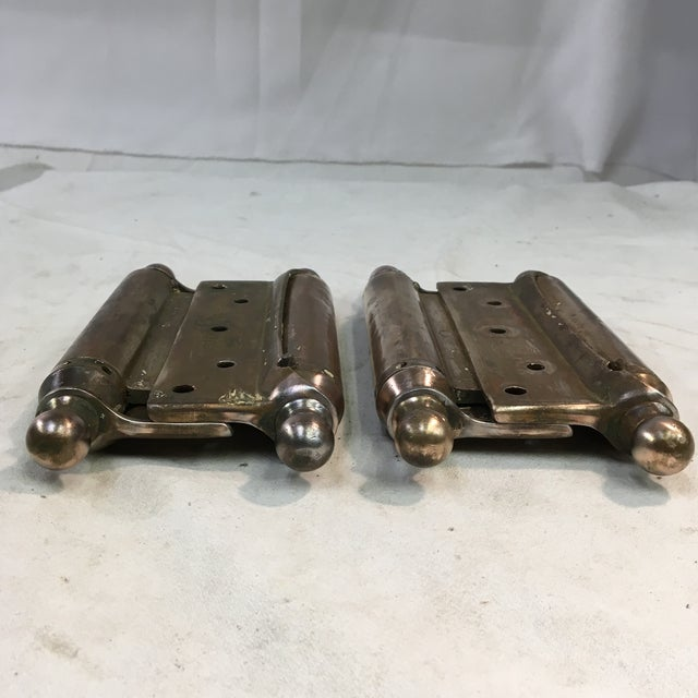 Brass Antique 1905 Brass-Plated Swinging Door Hinges - a Pair For Sale - Image 8 of 10