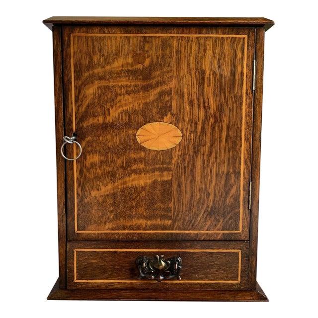 Antique English Inlaid Tiger Oak Pipe Smoke Cabinet Game Box Humidor Copper For Sale