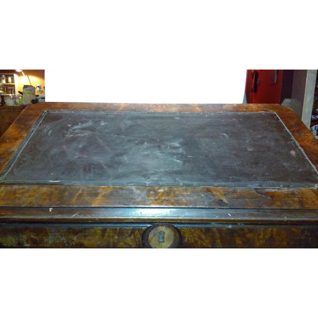 Antique Writing Desk With Stretched Leather Top - Image 11 of 11