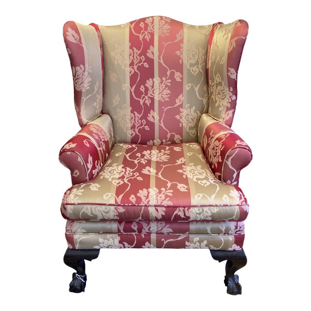 1920s Vintage Red Wingback Chair For Sale