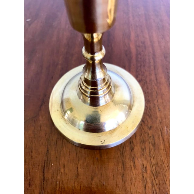 Metal Vintage Mid-Century Brass Candlesticks - a Pair For Sale - Image 7 of 9