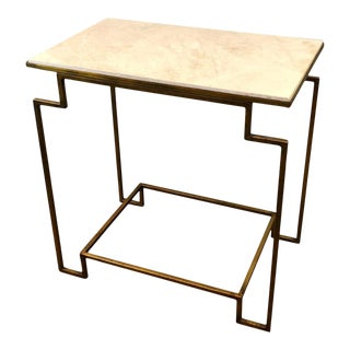 Art Deco Style Gilt Metal Marble End Table For Sale