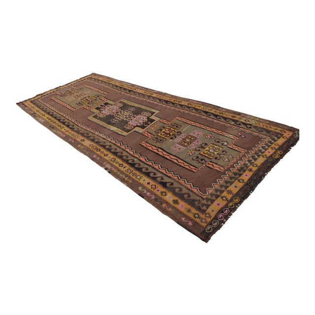 Turkish Hand Woven Kilim Rug - 5′1″ X 12′6″ - Image 1 of 10