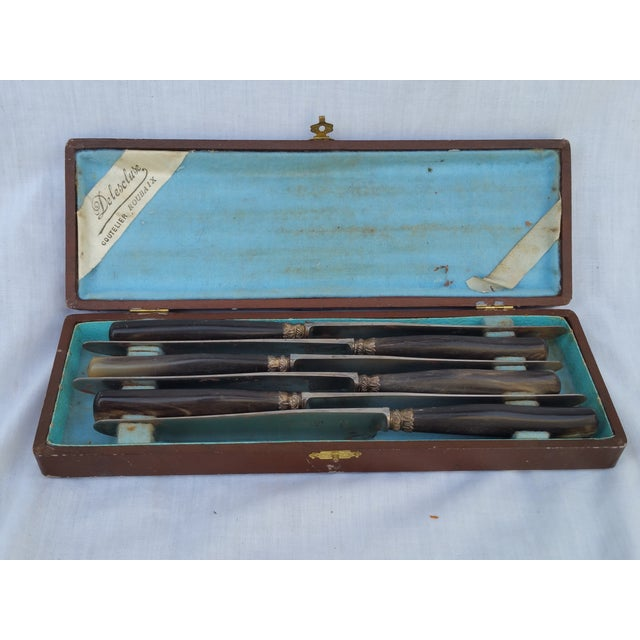 French Victorian Horn and Silver Knife Set - 6 - Image 2 of 6