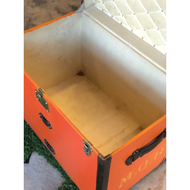 Rare Louis Vuitton Orange Trunk With Initials m.o.r, Circa 1930s For Sale - Image 12 of 13