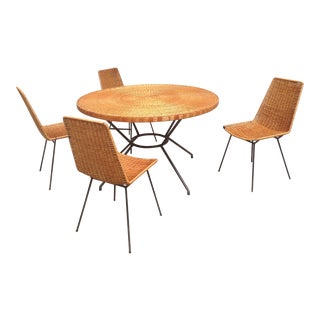 Vintage Mid-Century Wicker & Iron Dining Set For Sale