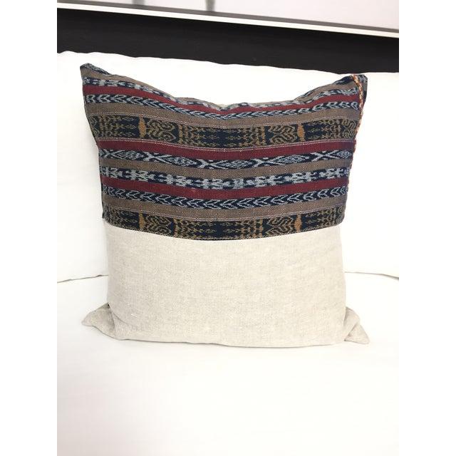 Vintage Indigo Cranberry Ikat Stripe Pillow - Image 6 of 6
