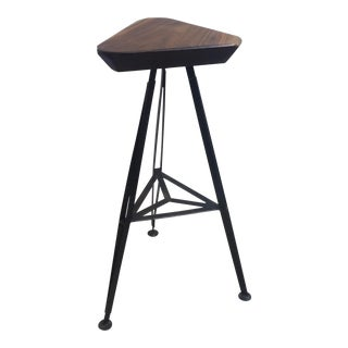 Vintage Walnut and Steel Bar Stool For Sale