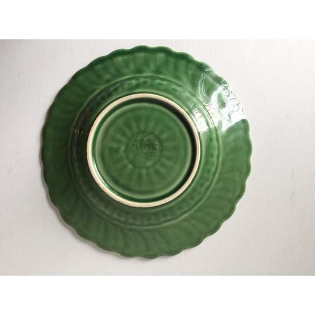 6 Green Majolica Basket Weave Dishes-Bordallo Pinheiro For Sale - Image 4 of 10