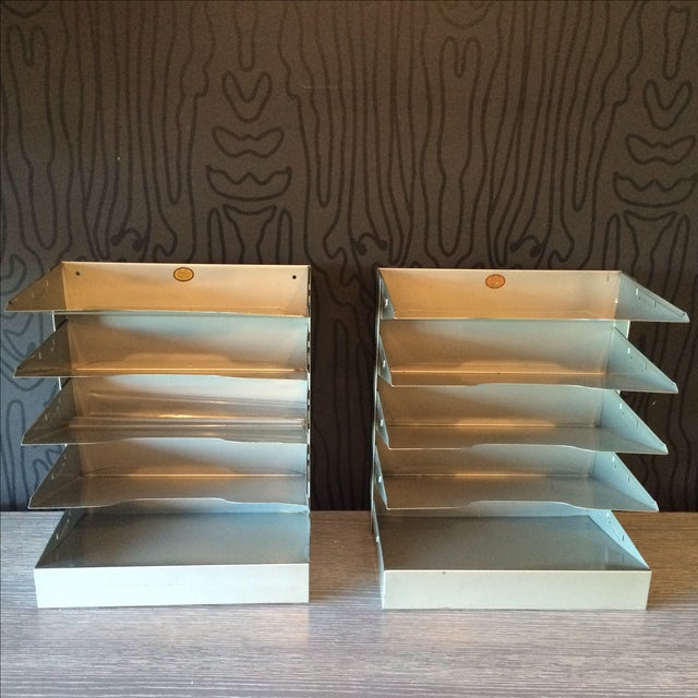 Mid-Century Metal Filing Trays - A Pair - Image 2 of 7