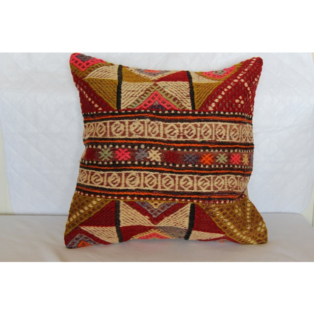 "Kilim Pillow Handmade Pillowcase Boho Chic Vintage - 16"" x 16"" - Image 3 of 7"