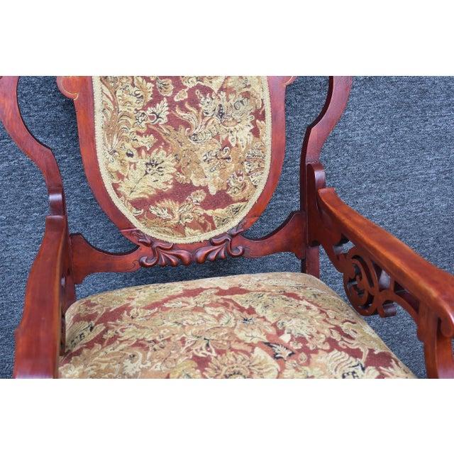 Burgundy Antique Old World Ornately Carved Shield Back Arm Chair Burgundy Floral Tapestry For Sale - Image 8 of 13
