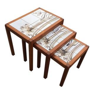 1960s Vintage Toften Mobelfabrikken Danish Mid-Century Modern Tile Top Nesting Tables - Set 3