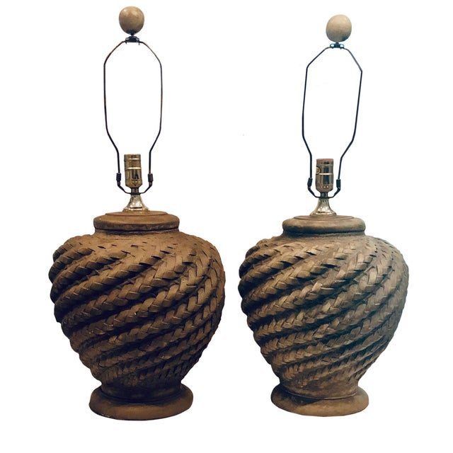 Mid 20th Century Rattan Lamps - a Pair For Sale In Tampa - Image 6 of 6