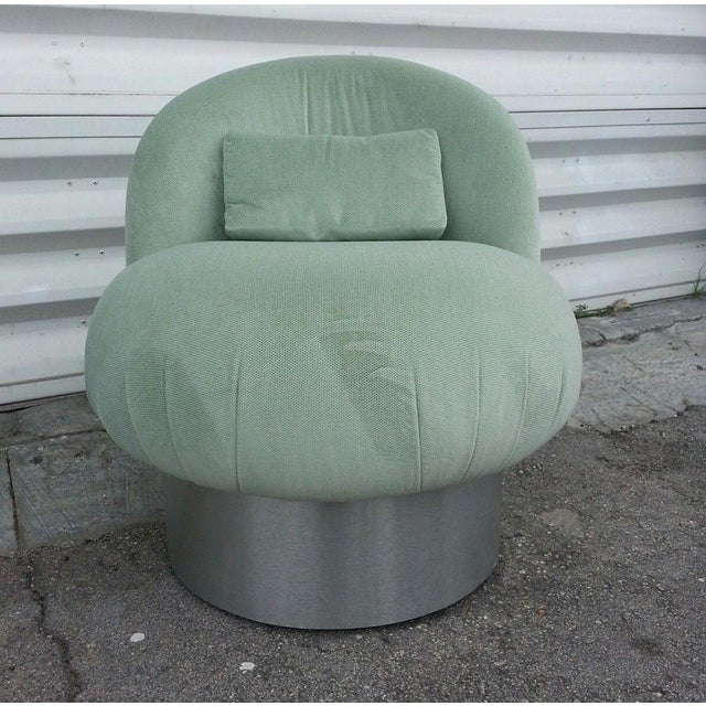 Green 1970's Hollywood Regency Green Swivel Vanity Chair For Sale - Image 8 of 8