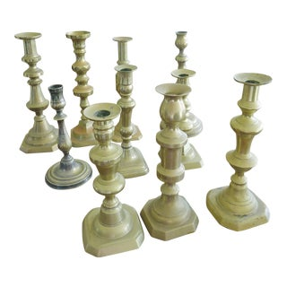 Antique Brass Candlesticks - Set of 10
