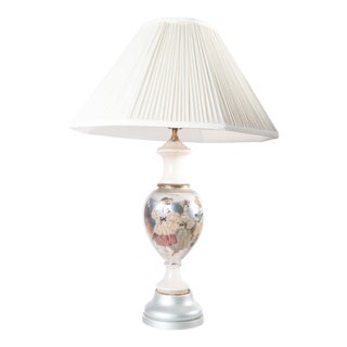 Silver Gilt Eglomise & Decoupage Ladies in Costume and White Ceramic Lamp With Shade For Sale