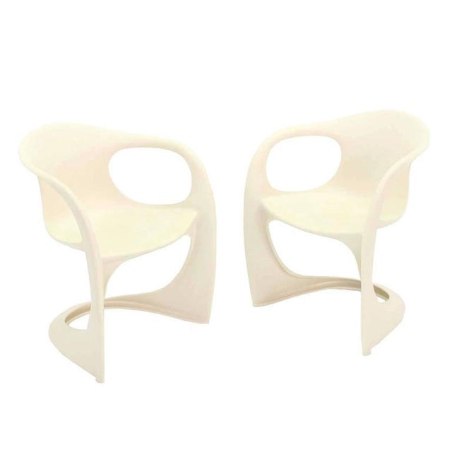White Set of Four Molded Fiberglass Dining Chairs For Sale - Image 8 of 9