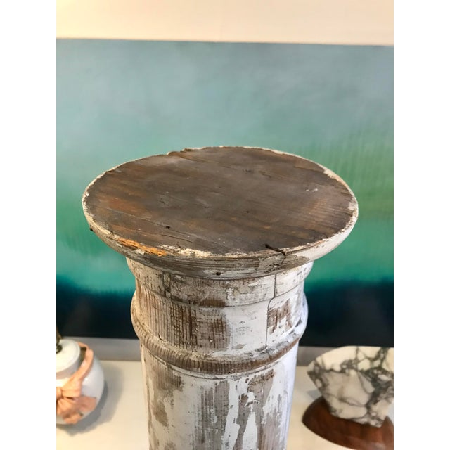1920s Antique Pine Column in Whitewash For Sale - Image 5 of 11