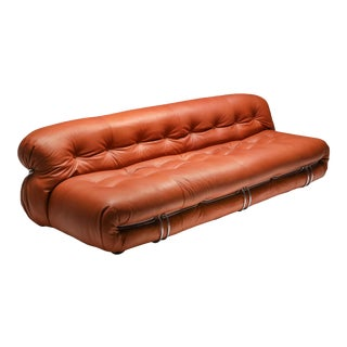 1970s Cassina Soriana Cognac Leather Sofa by Afra and Tobia Scarpa For Sale