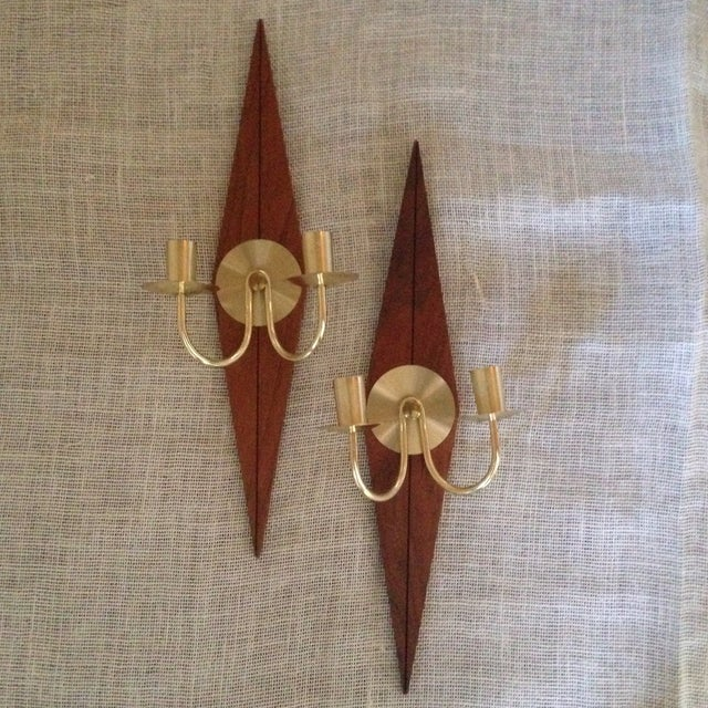 Mid-Century Wood & Metal Wall Sconces - A Pair - Image 3 of 11