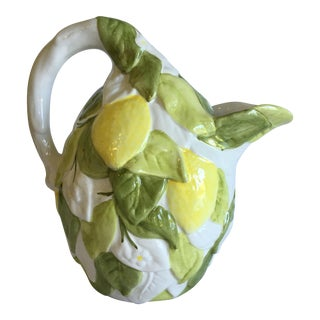Italian San Marco Lemon Shaped and Lemon Embellished Pitcher For Sale
