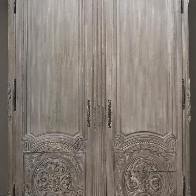 Oak 18th Century Country French Louis XVI Period Whitewashed Armoire For Sale - Image 7 of 12