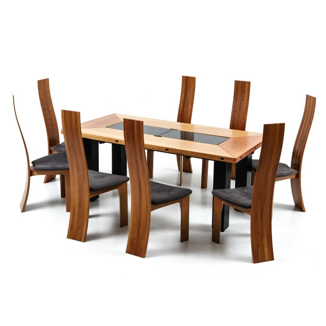 1970s Set of Eight Danish Cherry-Wood Dining Chairs by Bob Og Dries Van Den Bergh For Sale - Image 5 of 6