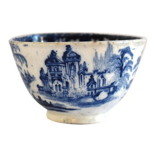 Antique Georgian C. 1815 Staffordshire Blue Transferware Tea Bowl For Sale