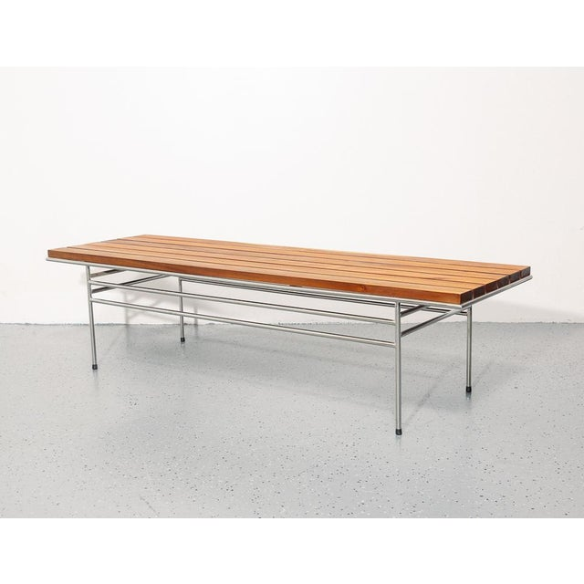 Mid-Century Modern Slatted Coffee Table / Bench For Sale - Image 3 of 6