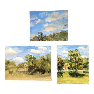 Gallery Wall Collection Original Contemporary Impressionist Landscape Paintings - Set of 3 For Sale