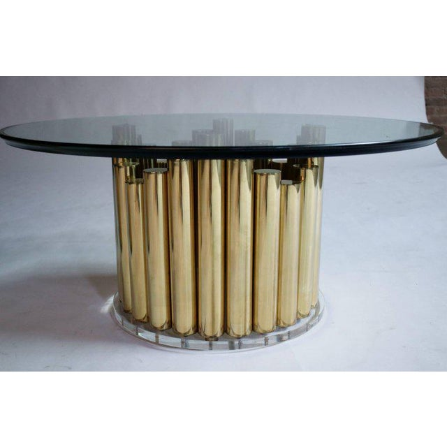 1970s Brass and Lucite Cocktail or End Tables For Sale - Image 5 of 9