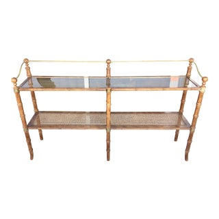 Wood, Caning & Brass Console Two Shelves
