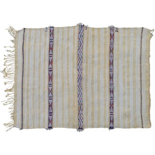 Striped Silk Motif Moroccan Blanket For Sale