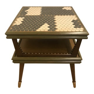 1970s Mid Century Modern Tile Top End Table For Sale
