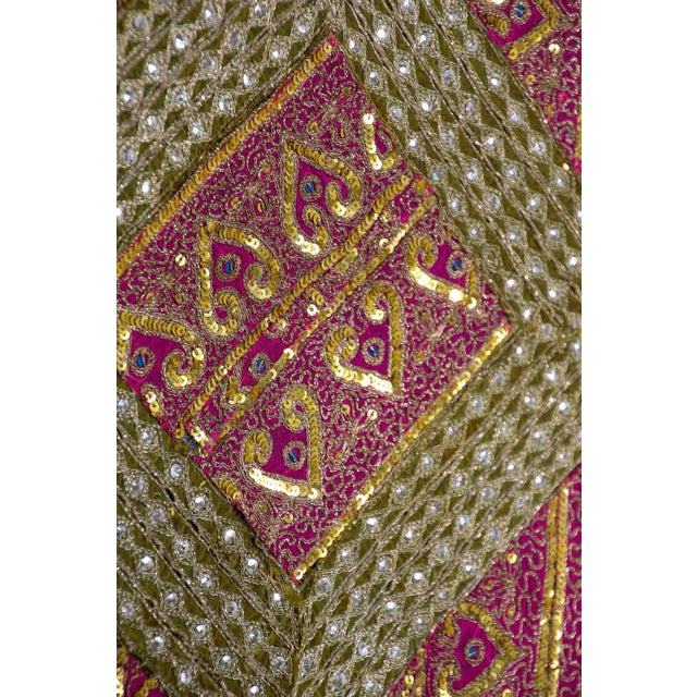 Metal Mughal Style Metal Threaded Tapestry Framed from Rajasthan, India For Sale - Image 7 of 13