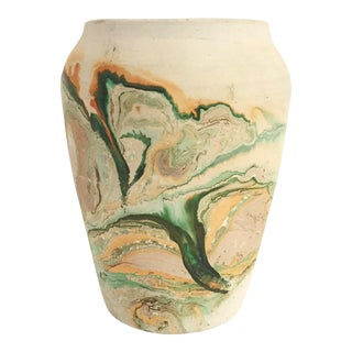 Vintage Tall Nemadji Pottery Vase or Planter / Green Swirls