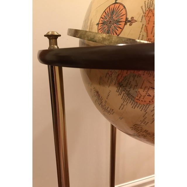 Metal Vintage Replogle Brass and Wood World Globe on Stand For Sale - Image 7 of 9