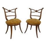 Image of 1940's Hollywood Regency Klismos Side Chairs - a Pair For Sale