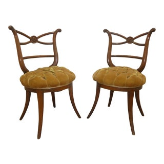 1940's Hollywood Regency Klismos Side Chairs - a Pair
