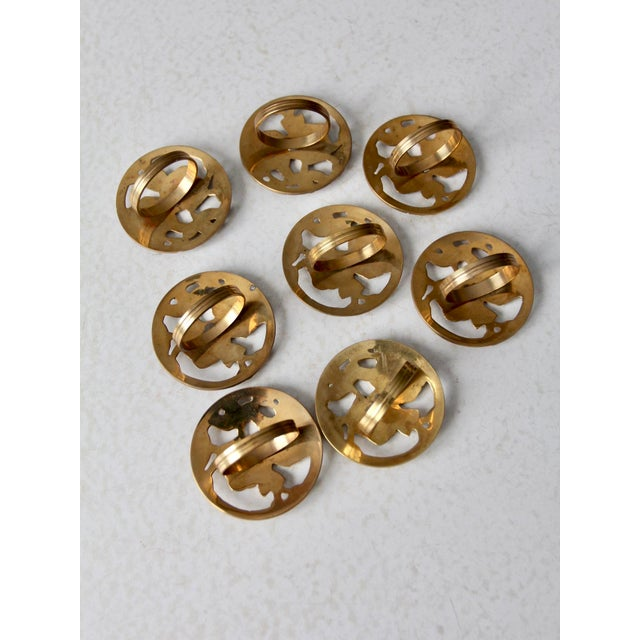 Mid 20th Century Vintage Brass Napkin Rings - Set of 8 For Sale - Image 5 of 10