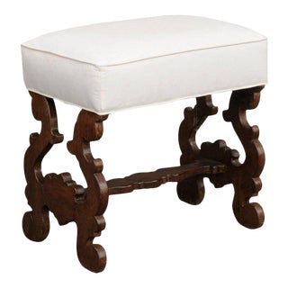 Baroque Revival Petite Spanish Carved Bench with Lyre-Shaped Legs, circa 1880