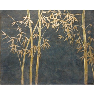 Modern Bamboo Painting in Silver and Blue by Jacques Lamy For Sale